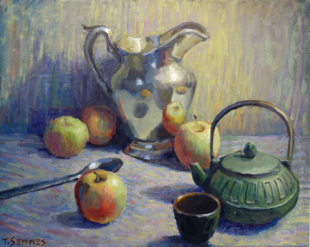Pitcher, Teapot and Four Apples