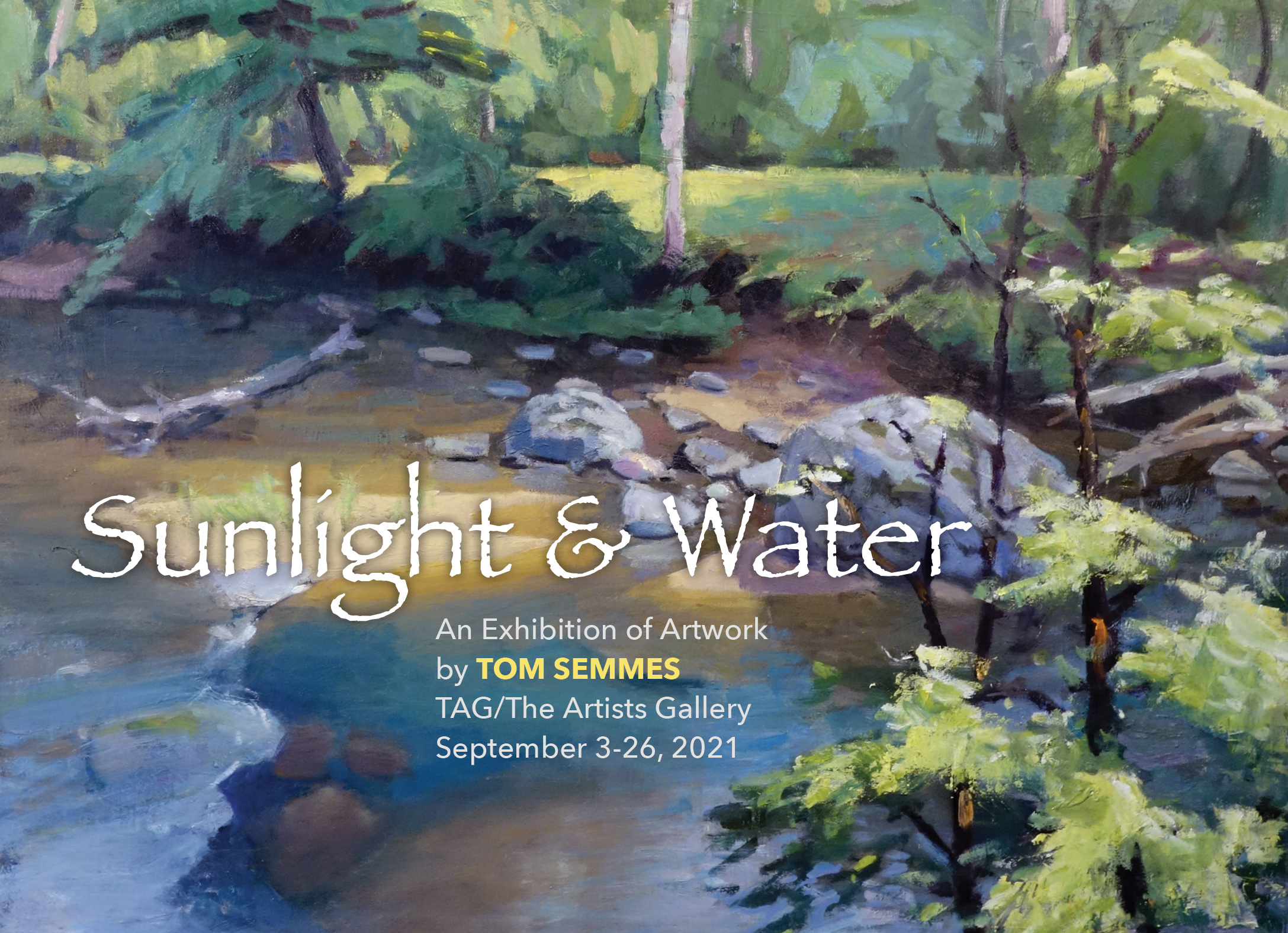 An invitation to Sunlight & Water, an exhibition of artwork by Tom Semmes